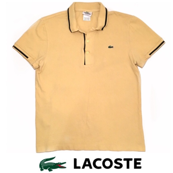 eda3c2dcc2 Lacoste 3 Button Black and Yellow / Cream Polo